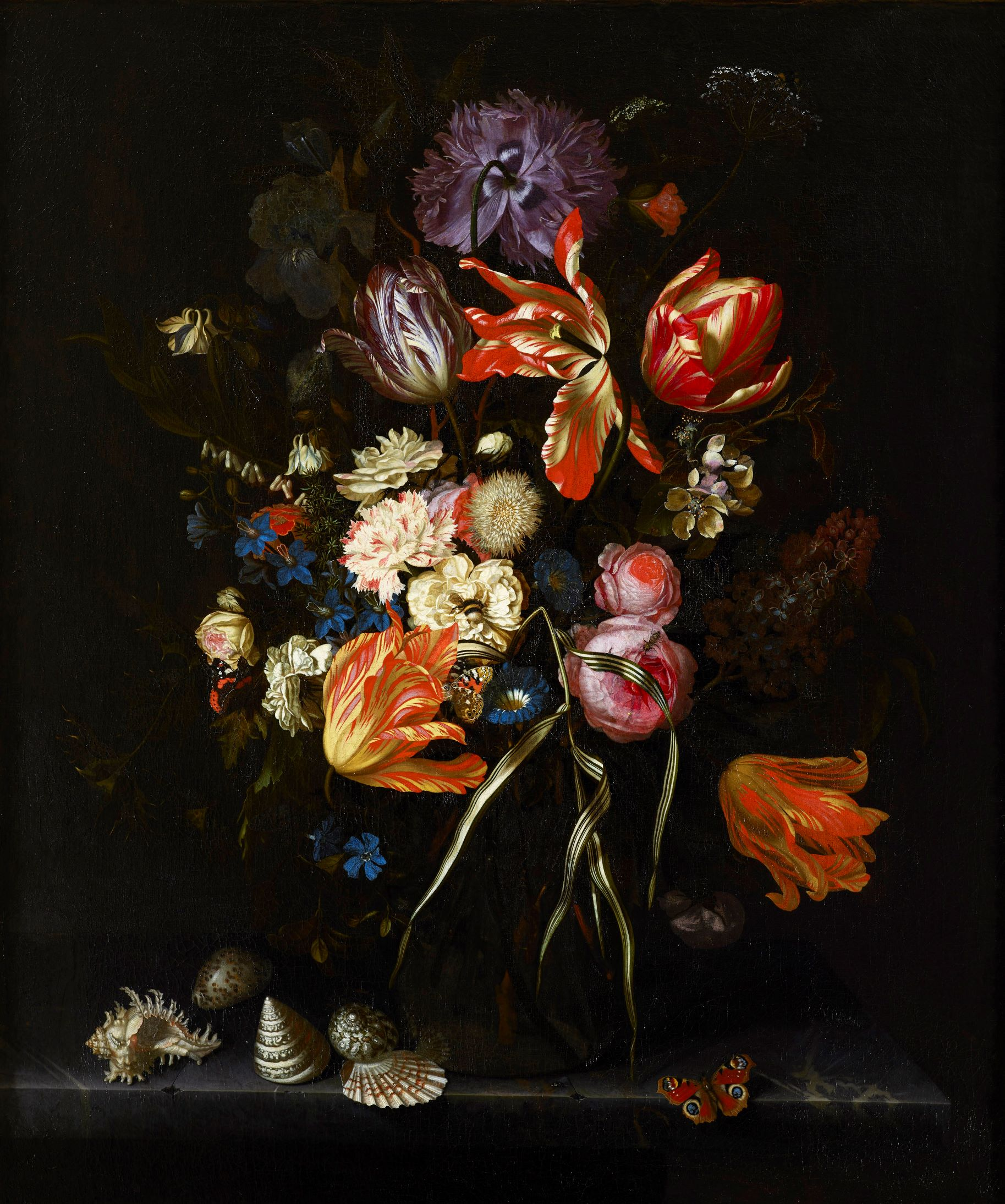 Maria van Oosterwyck (1630–1693), <em>Still Life of Flowers in a Glass Vase</em>, ca. 1685 Joslyn Art Museum, Omaha