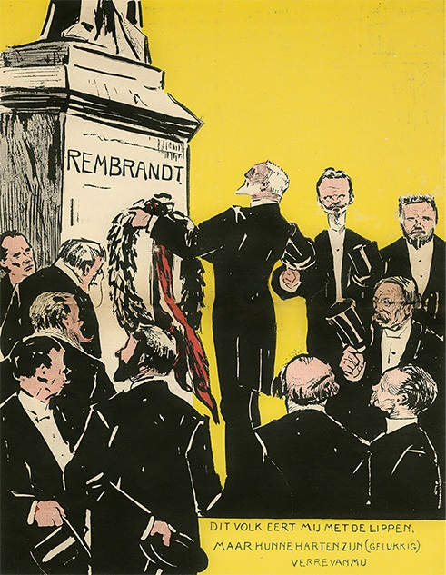 Anonymous artist, Homage by artists from Arti et Amicitiae to Rembrandt statue, cartoon from De ware Jacob, July 14, 1906 RKD - Netherlands Institute for Art History, The Hague