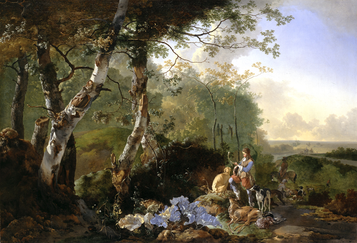 Adam Pynacker (1622-1673), Landscape with Sportsmen and Game, ca. 1665 Dulwich Picture Gallery, London