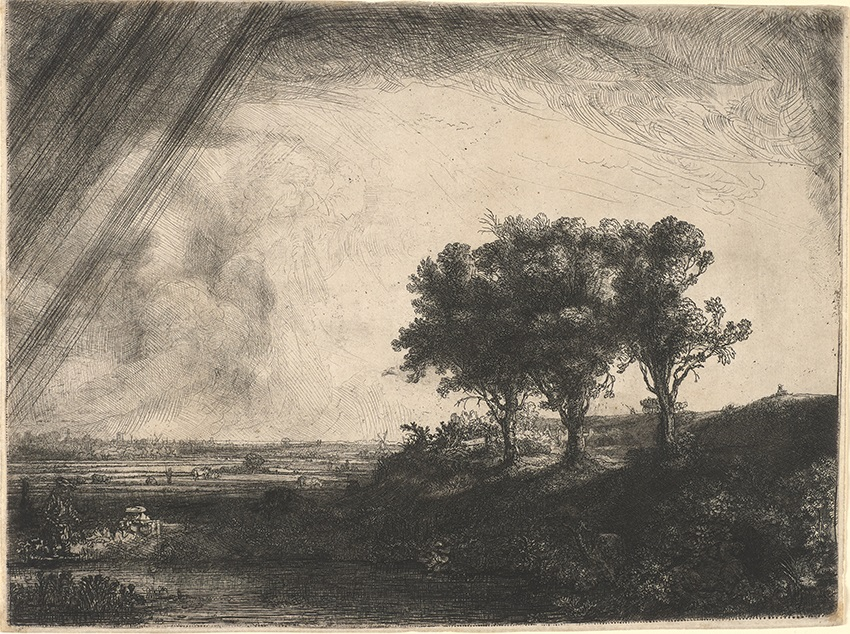 Rembrandt van Rijn (1606–1669), <em>Landscape with Three Trees</em>, 1643. Princeton University Art Museum, New Jersey