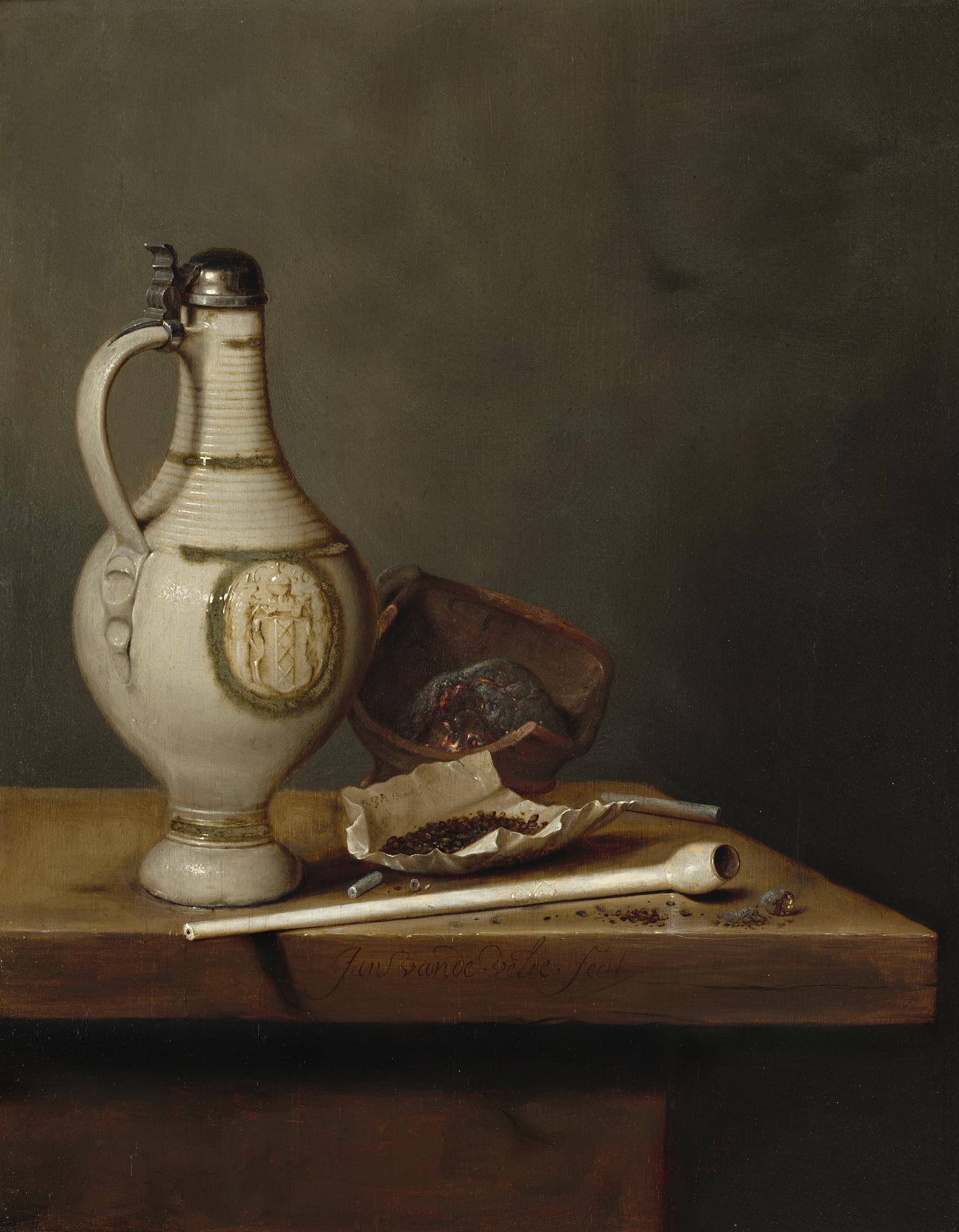 Jan van de Velde III (1620–1662), Still Life with Stoneware Jug and Pipe, 1650 National Gallery of Art, Washington