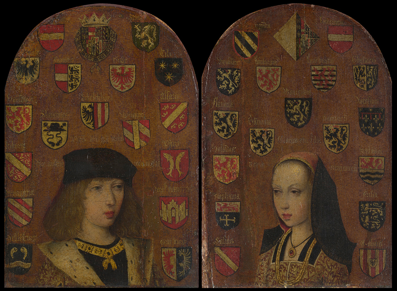Probably by Pieter van Coninxloo, (act. 1479-1513), Diptych of Philip the Handsome and Margaret of Austria, ca. 1493-5 National Gallery, London