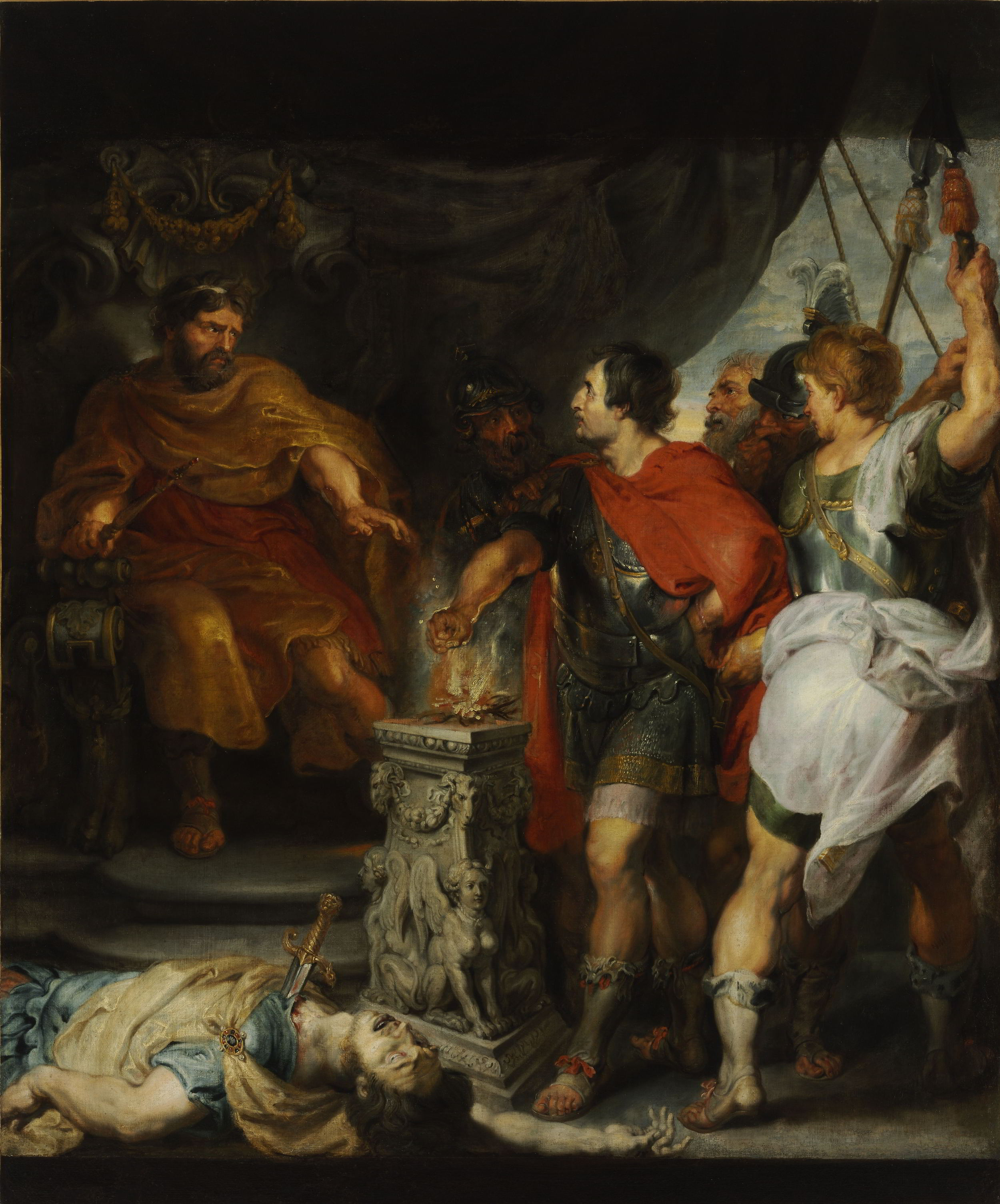 Peter Paul Rubens and Anthony van Dyck, <em>Mucius Scaevola before Lars Porsenna</em> ca. 1618–1620 Szépművészeti Múzeum, Budapest