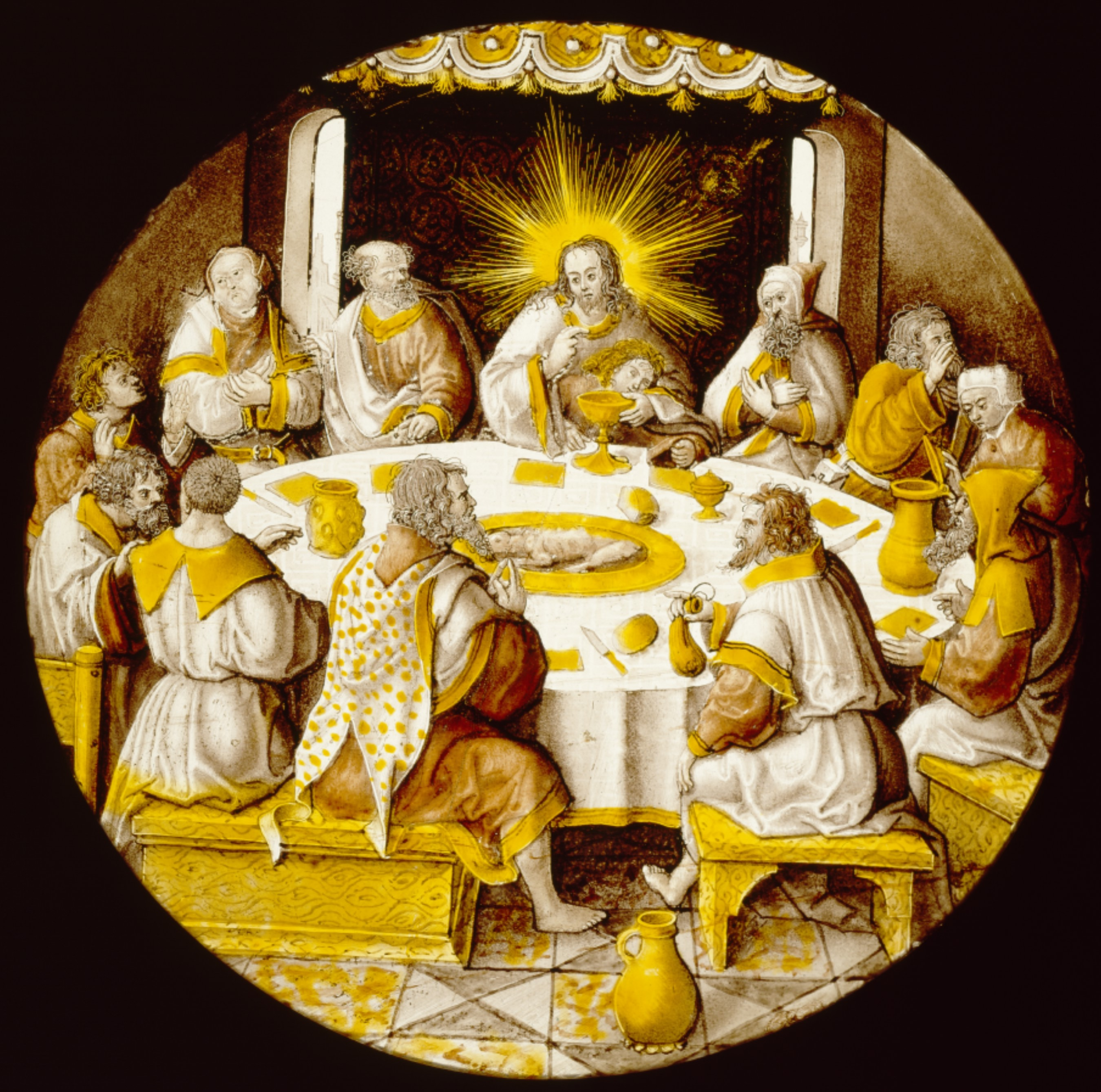 After Jacob Cornelisz van Oostsanen, Last Supper, 1514-25, colorless glass, vitreous paint and silver stain, 1.3 x 23.8 cm Detroit Institute of Arts