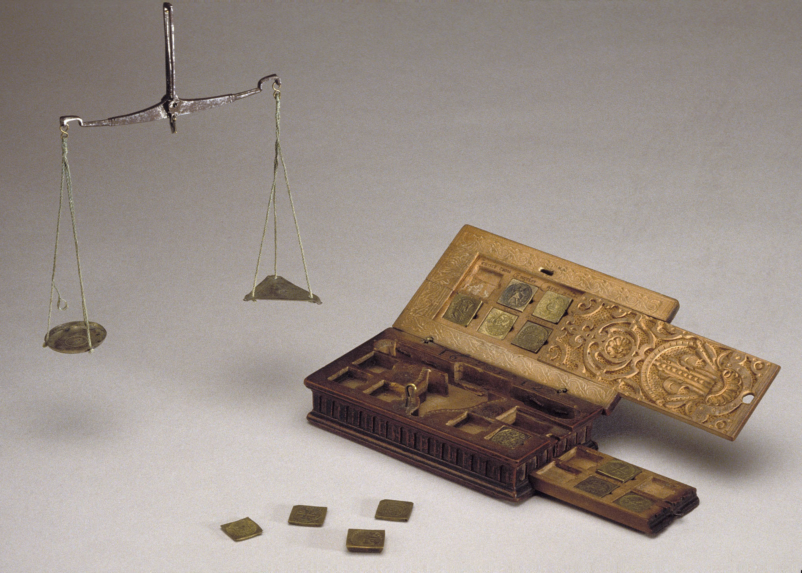 Unidentified Artist (Cologne) and Guilliam de Neve, Box of Coin Weights and Scales, 1612, wood, brass, iron, silvered copper, silk Detroit Instiute of Arts