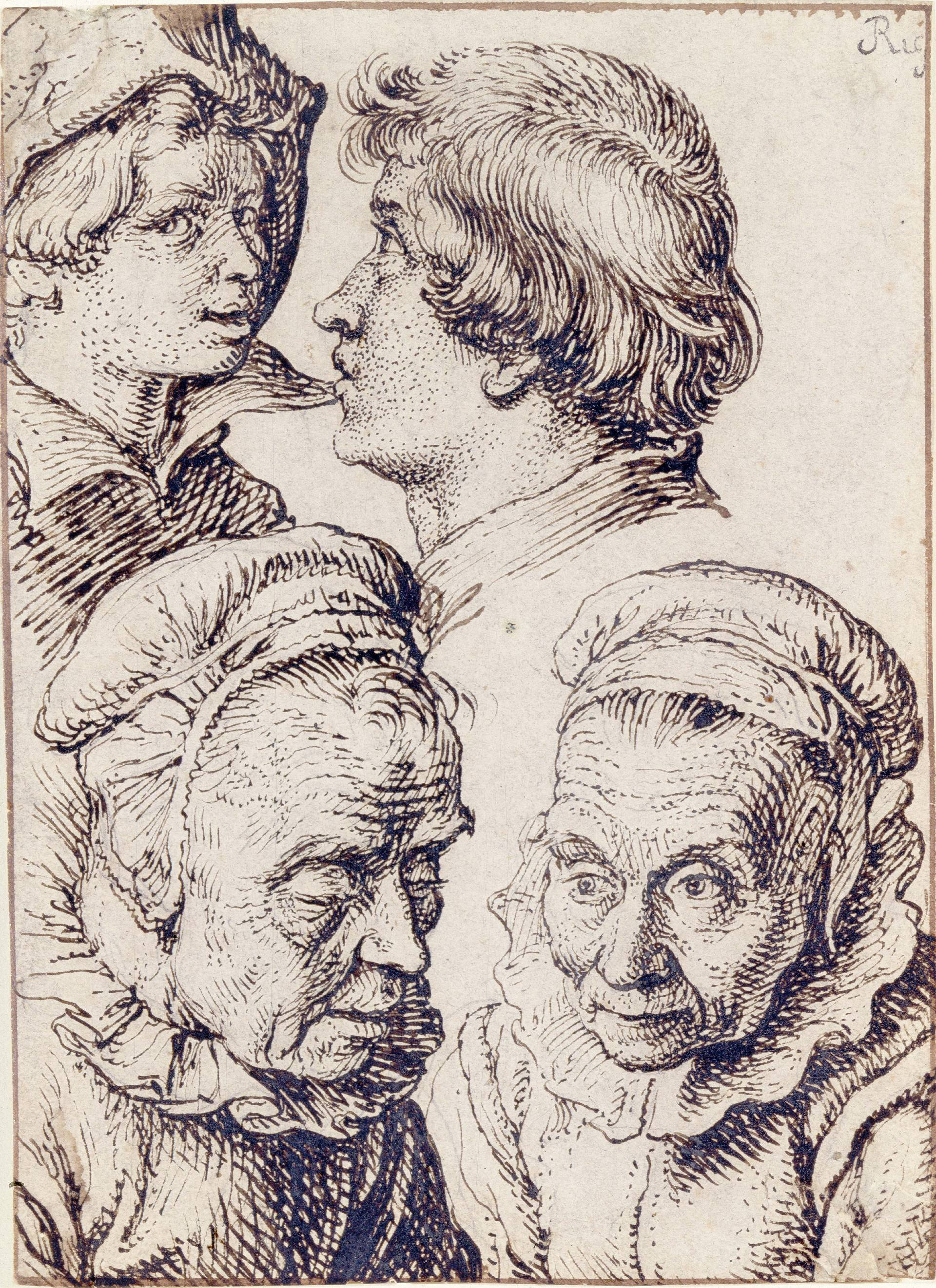 "Jacques de Gheyn II (1565-1629), <em>Studies of the Heads of Two Youths and an Old Woman</em>,"" ca. 1600-1605 Detroit Institute of Arts"