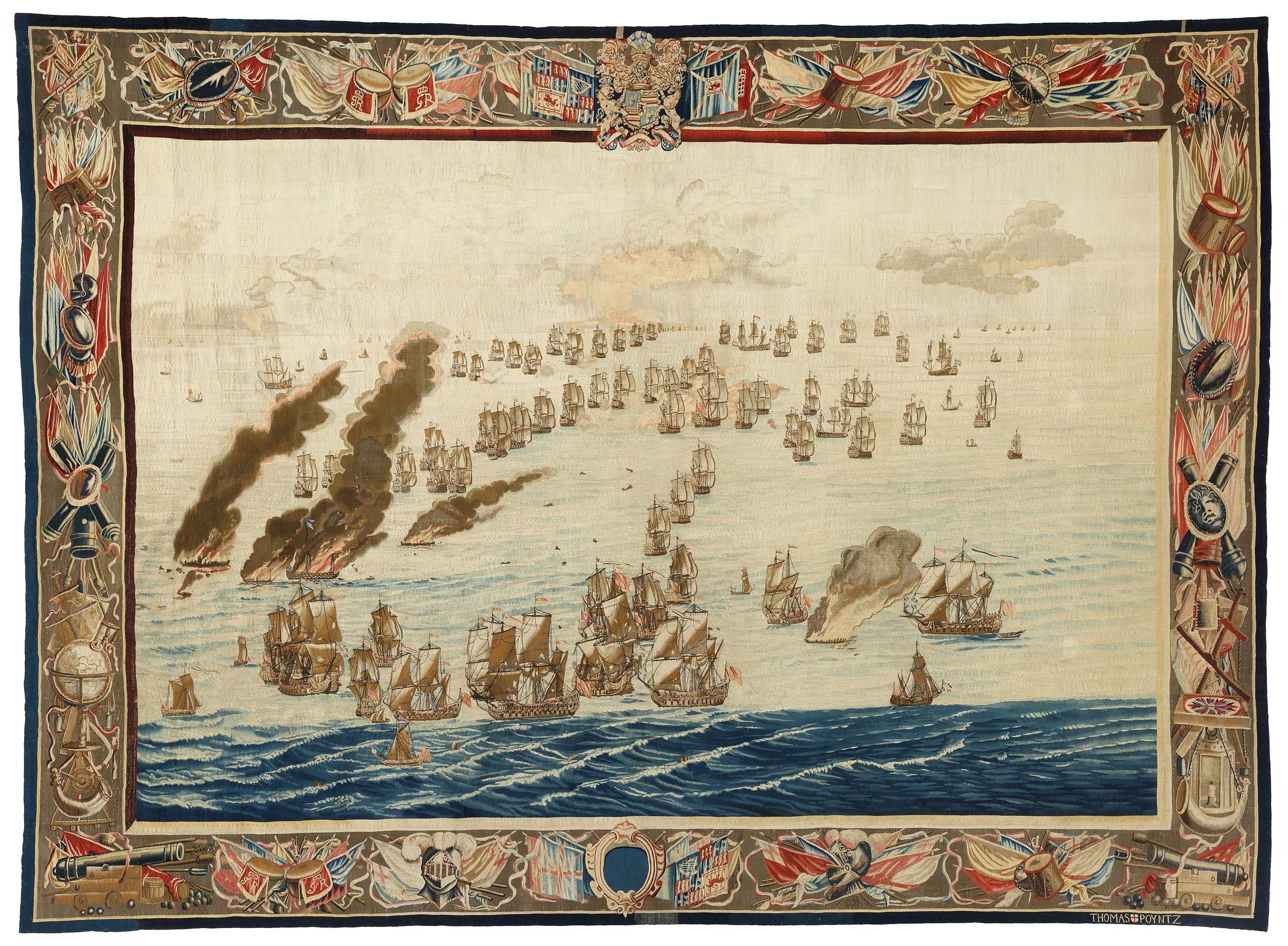 Designed by Willem van de Velde I (1611-1693),<em>The Burning of the Royal James (Later in the Day)</em>, after 1685 National Maritime Museum, Amsterdam