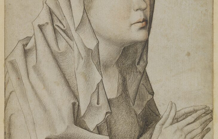 3. Follower of Rogier van der Weyden, Head of the Virgin, ca. 1480-1490, silverpoint and red chalk, 19.8 x 14.4 cm, inv. 214