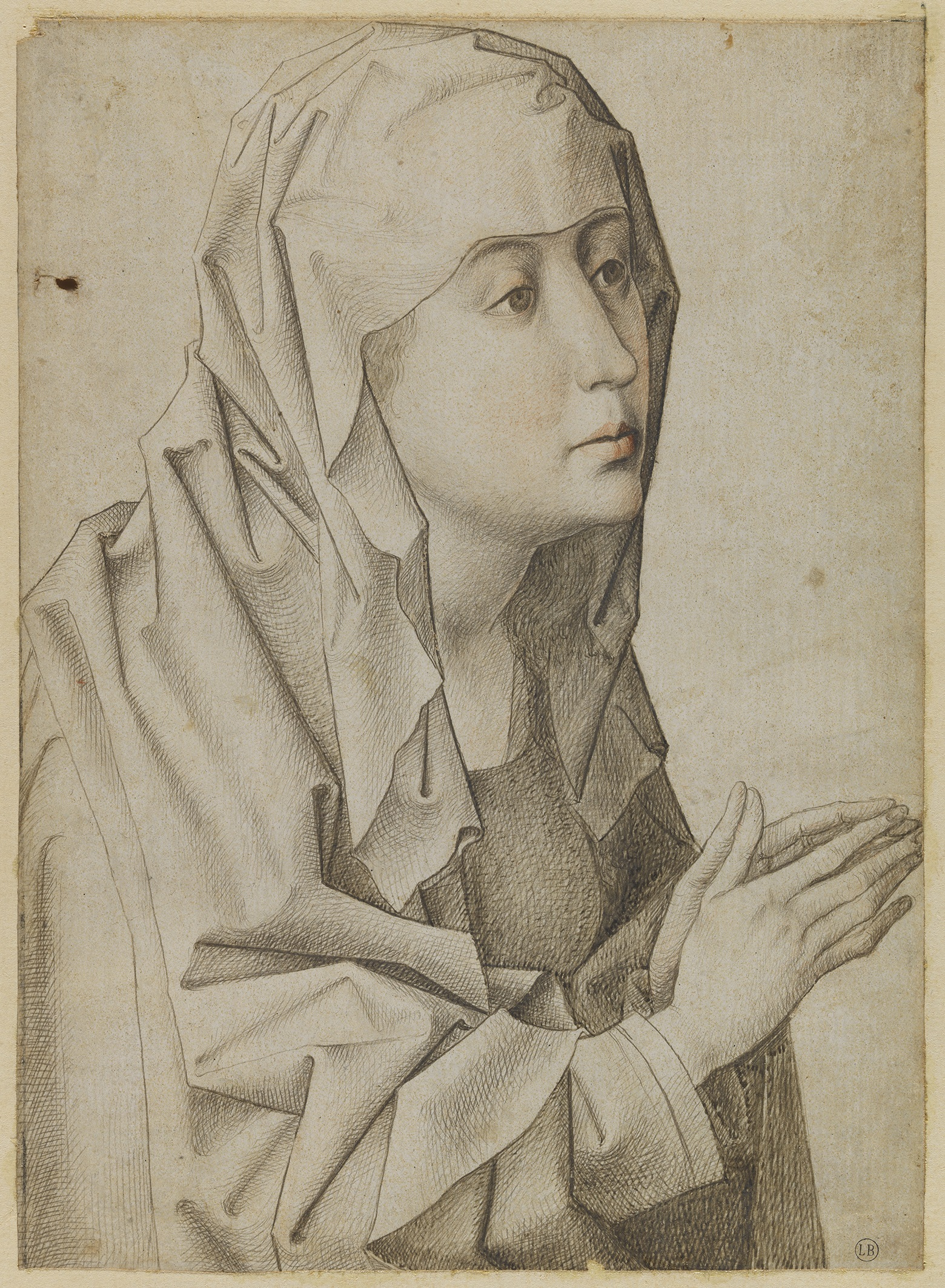 3. Follower of Rogier van der Weyden, Head of the Virgin, ca. 1480-1490, silverpoint and red chalk, 19.8 x 14.4 cm, inv. 214