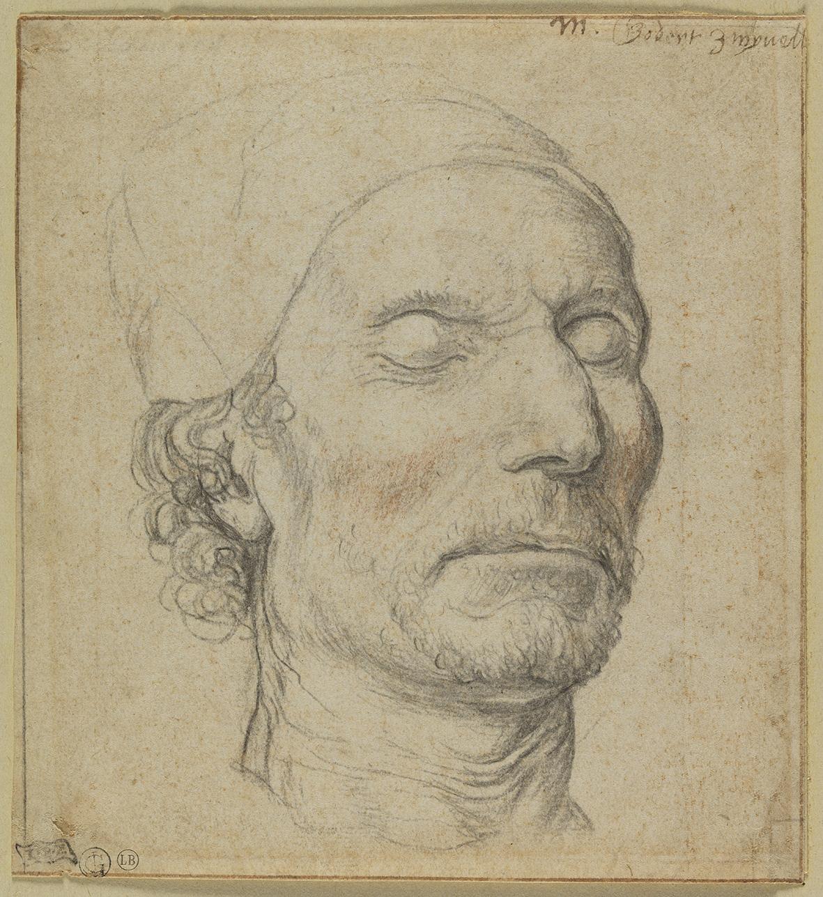 4. Bernaert de Rijckere (ca. 1535-1590), Head of a Man, ca. 1560, red and black chalk, 15 x 13.7 cm, inv. 1493