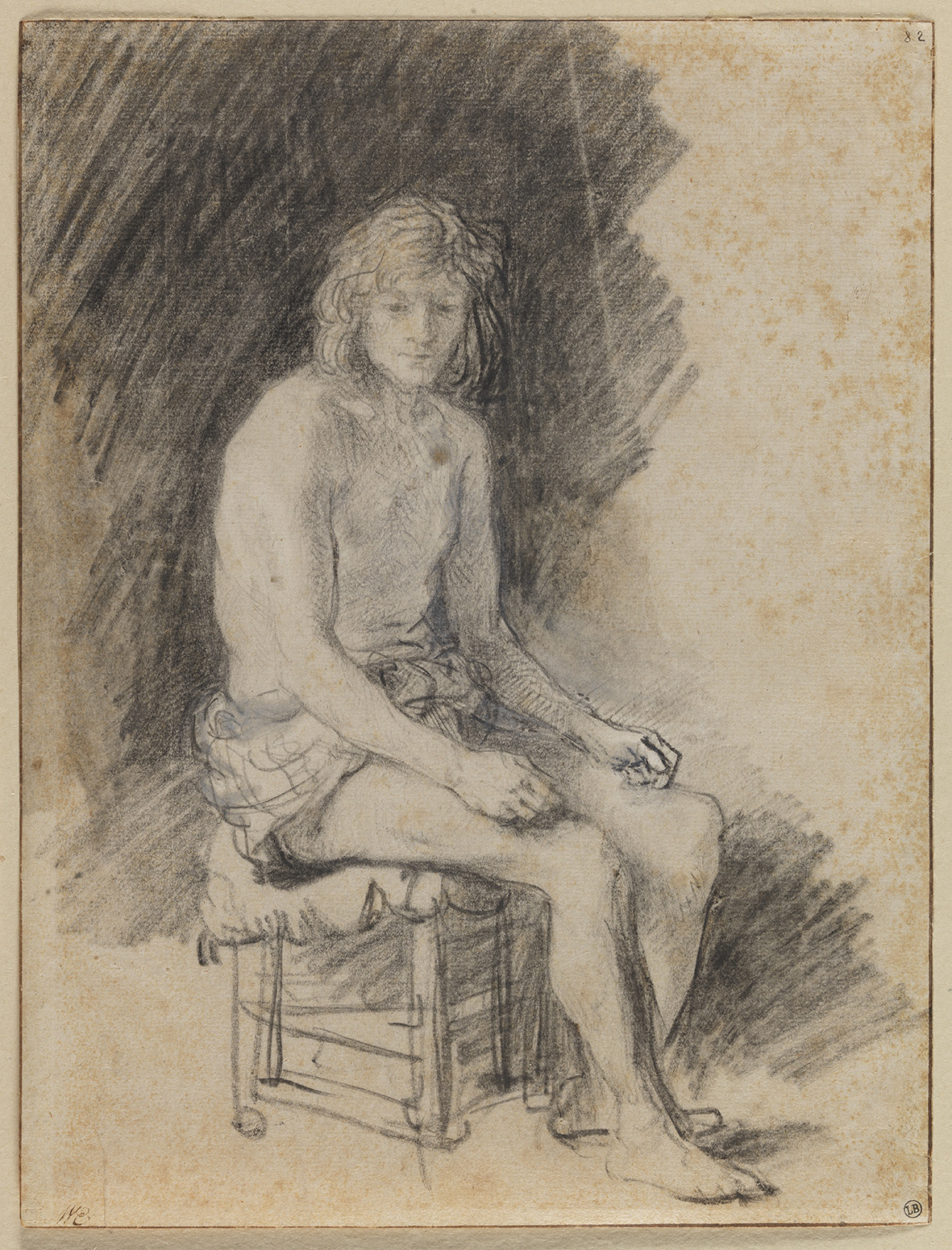 6. Rembrandt van Rijn (1606-1669) and an unknown pupil, Young Man Seated, black chalk, brown wash, heightened with white, 25 x 19 cm, inv. 646