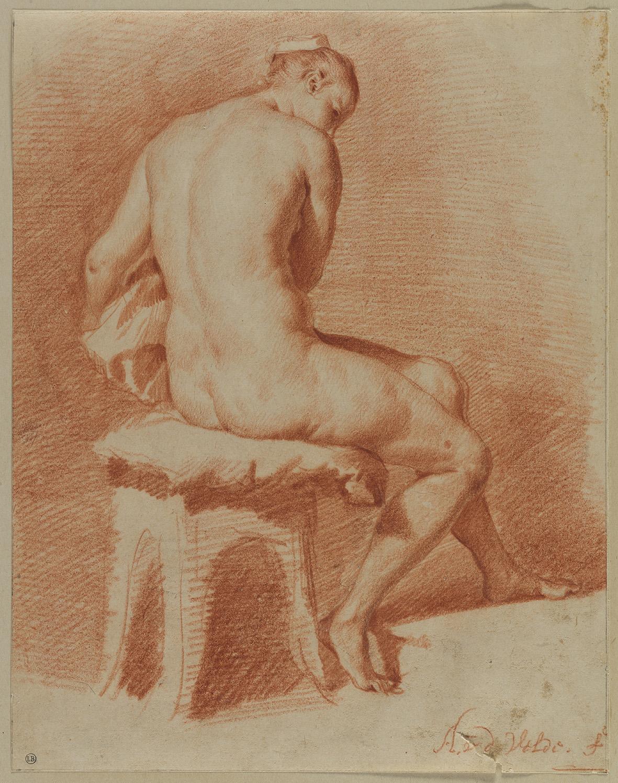 7. Adriaen van de Velde (1636-1672), Seated Female Nude, ca. 1660-1670, red and black chalk, 26.6 x 21 cm, inv. 160