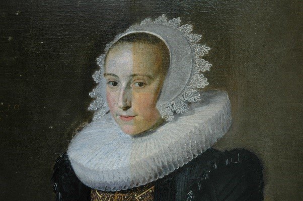 Frans Hals (1582-1666), Portrait of Aletta Olycan (detail, during restoration), 1625, Mauritshuis, The Hague