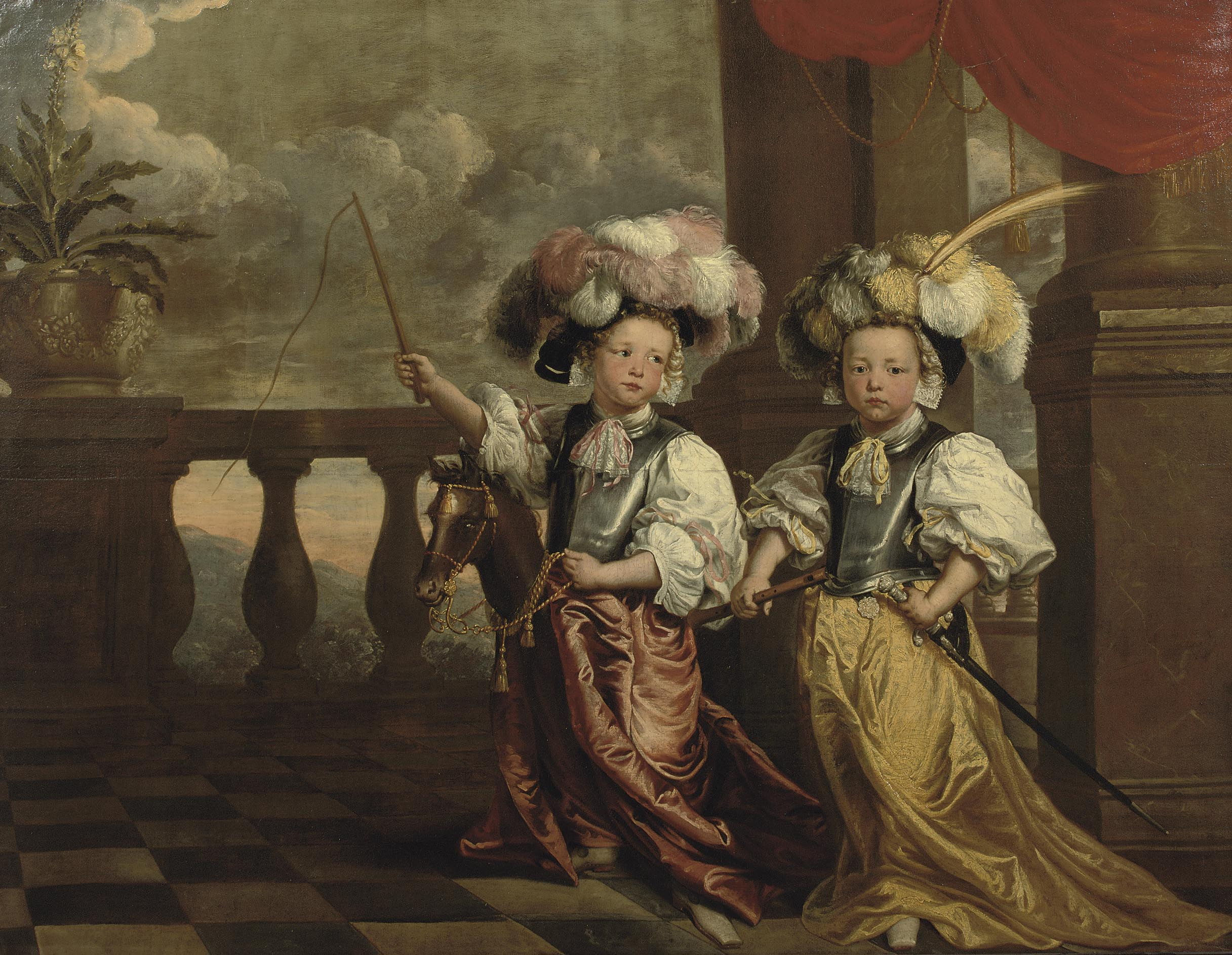 Jeanne Vergouwen (1630-1714), Portrait of Two Young Boys Dressed up as Knights, 1668