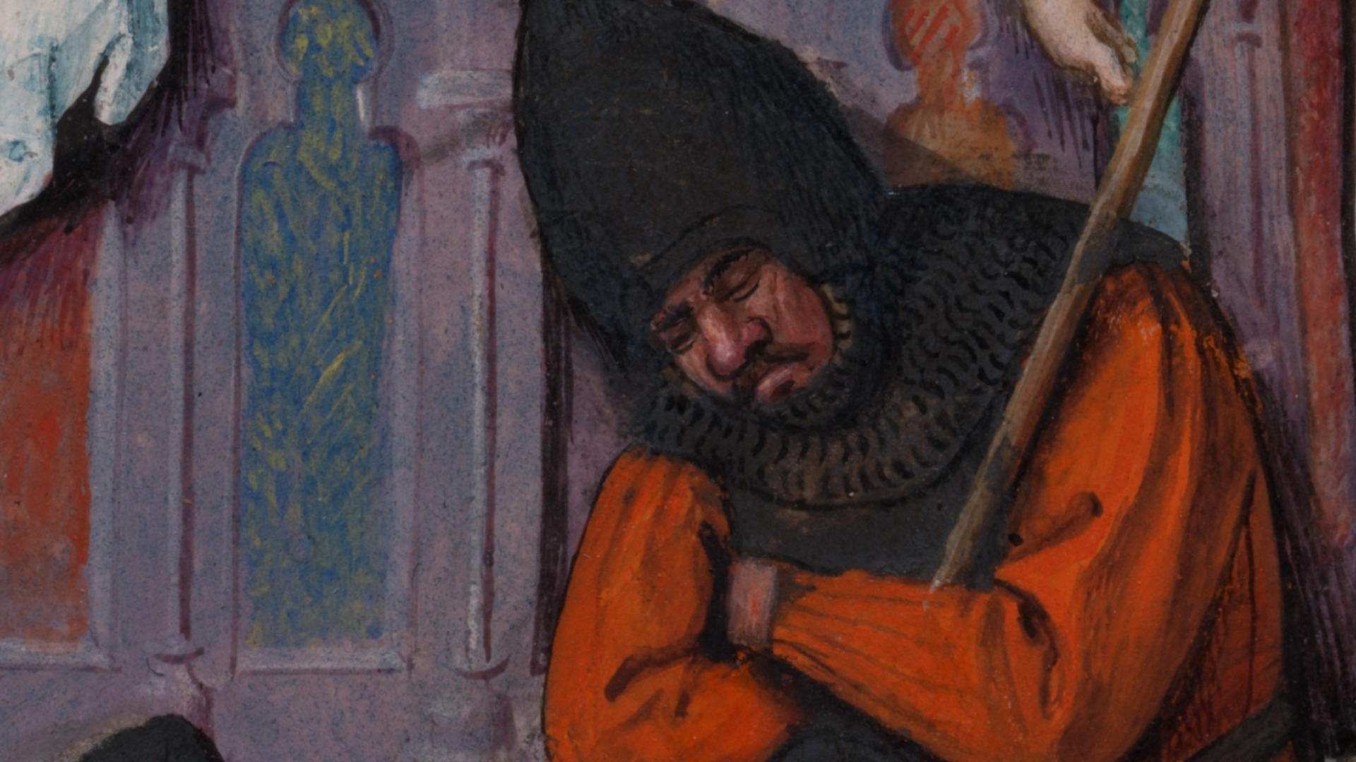Detail of a sleeping soldier taken from the Milan-Turin Hours (folio 77v, <em>The Ressurection</em>). Image: closertovaneyck.kikirpa.be