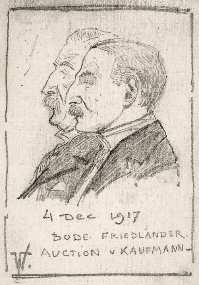 Fig. 2 Willem Vogelsang, Wilhelm Bode and Max Friedländer, pencil on paper, The Hague, RKD, Archive Willem Vogelsang