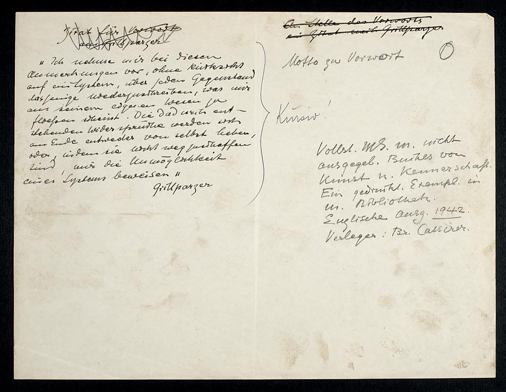 Figs. 3 and 4 Manuscript of Von Kunst und Kennerschaft, The Hague, RKD, Archive Max J. Friedländer