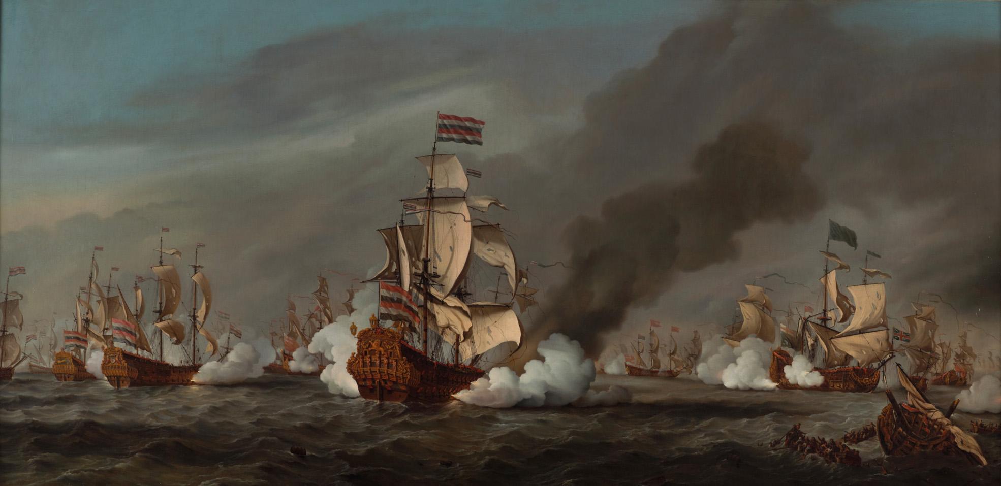 Willem van de Velde II (1633-1707), The naval battle at Kijkduin, August 21, 1673, 1687, Het Scheepvaartmuseum, Amsterdam