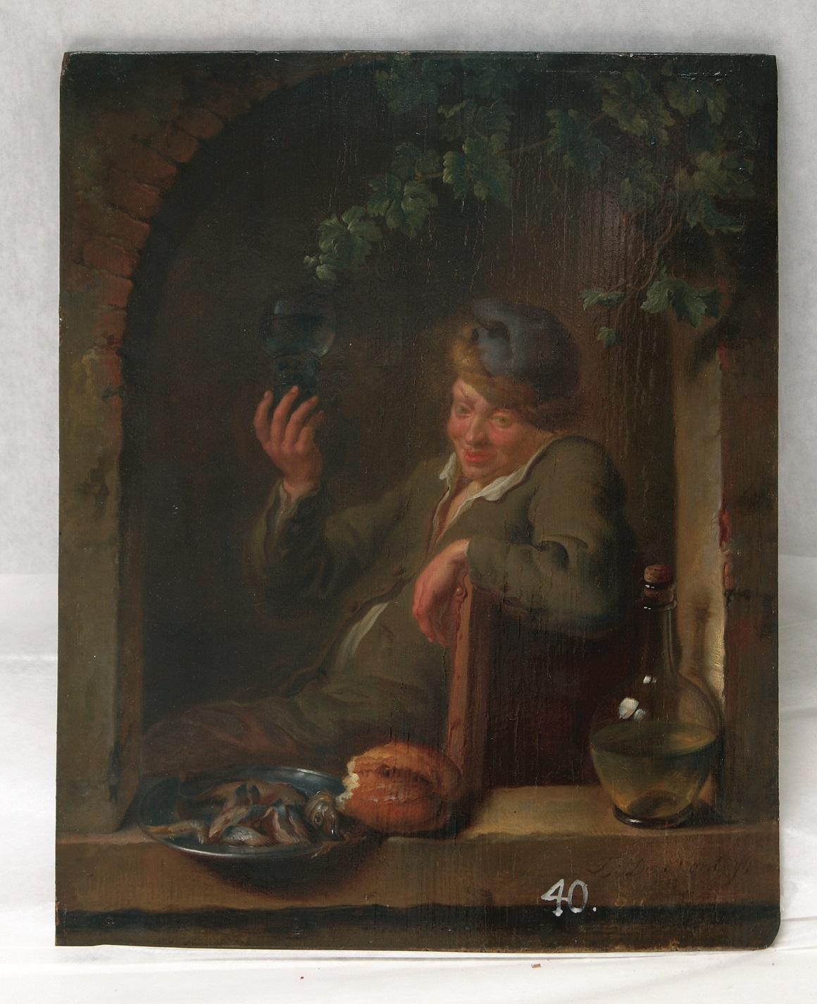Louis de Moni (1698-1771), The Bon Vivant, oil on wood panel, 29.5 x 23.5 cm, signed and dated 174[3] Hermitage Museum, St Petersburg