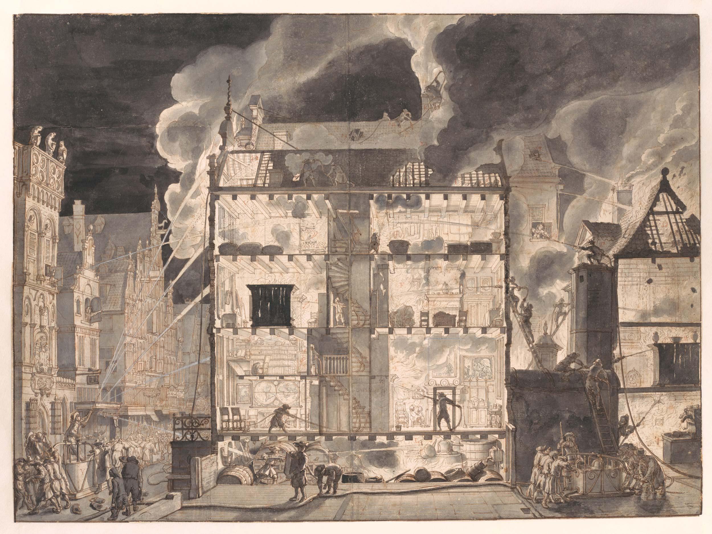 Jan van der Heyden (1637-1712), <em>Cross-section of a burning house with firefighters</em>, ca. 1690, Amsterdam City Archives<br /> Design for the second print published in <em>Beschryving der nieuwlyks uitgevonden en geotrojeerde slang-brand-spuiten</em> 1690 (Description of the recently invented and patented hose fire engine').