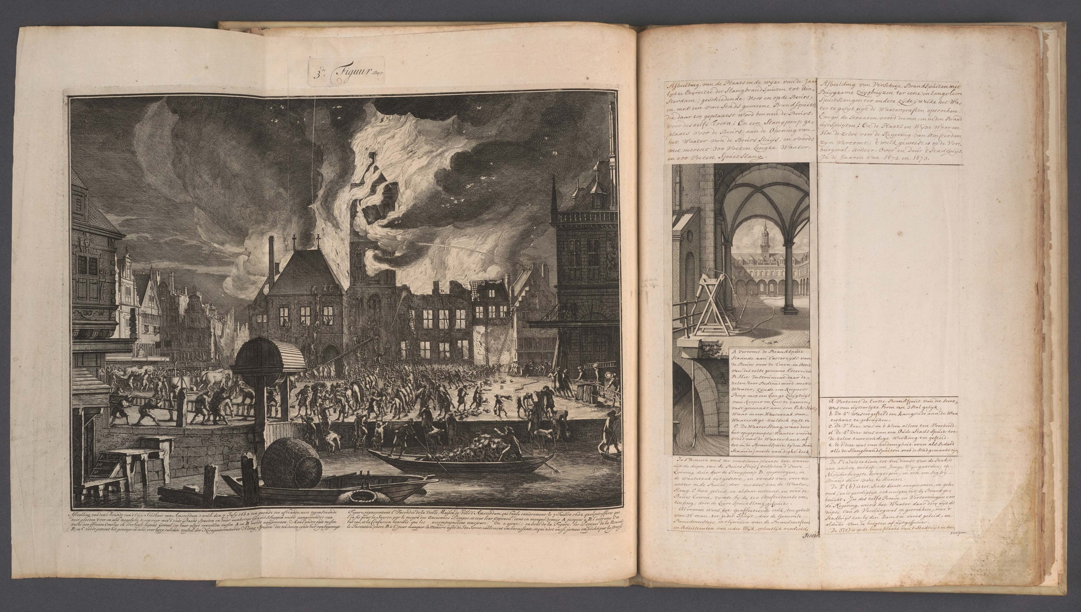 Jan van der Heyden (1637-1712), Continuation of the <em>Description of the recently invented and patented hose fire engine</em> , ca. 1695. Manuscript with mounted prints and one drawing, Amsterdam City Archives