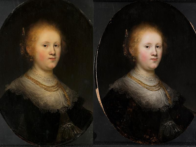 Rembrandt (1606-1669)?, <em> Portrait of a Woman</em>, 1632, before (left) and after (right) conservation treatment (courtesy of the Allentown Art Museum)