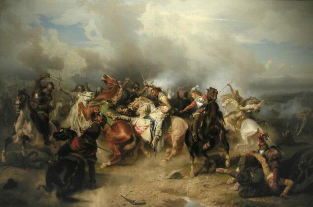 Carl Wahlbom (1810-1858), <em>death of King Gustavus Adolphus of Sweden during the Battle of Lützen (1632), 1855 Nationalmuseum, Stockholm