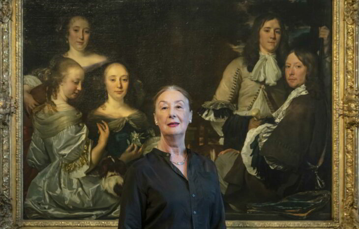 Irina Sokolova, with Abraham van den Tempel's Family Portrait in the background