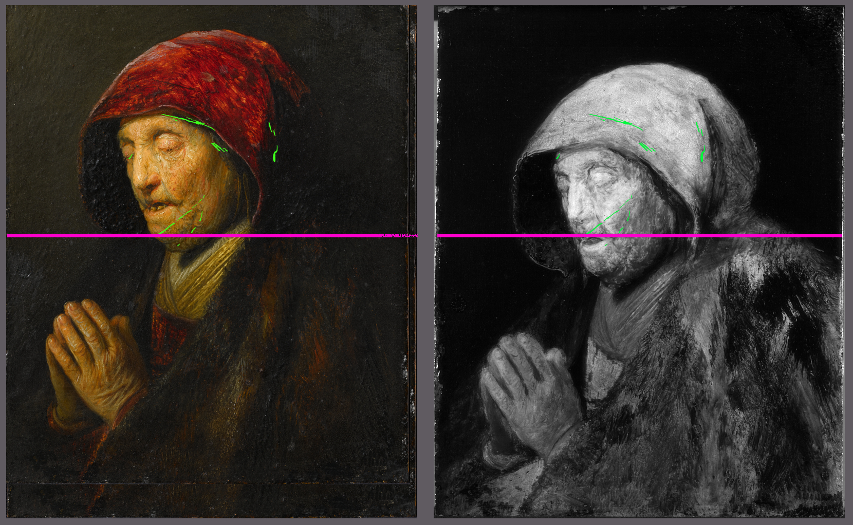 Left: the version following the first scetch; right: IRR image of the executed version; © KHM-Museumsverband