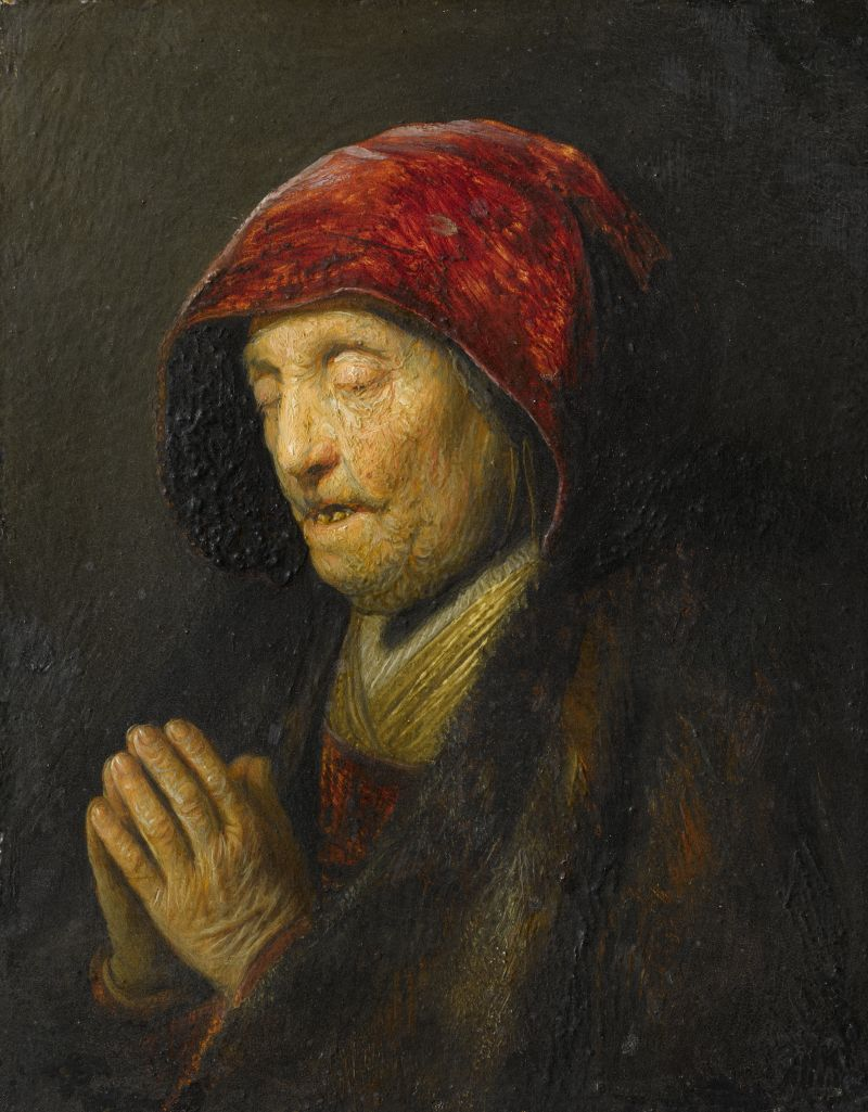Rembrandt van Rijn (1606-1669), Old Woman Praying, 1629/30, oil on gilded copper, 15.5 x 12.2 cm Residenzgalerie Salzburg © Residenzgalerie / Fotostudio Ulrich Ghezzi, Oberalm