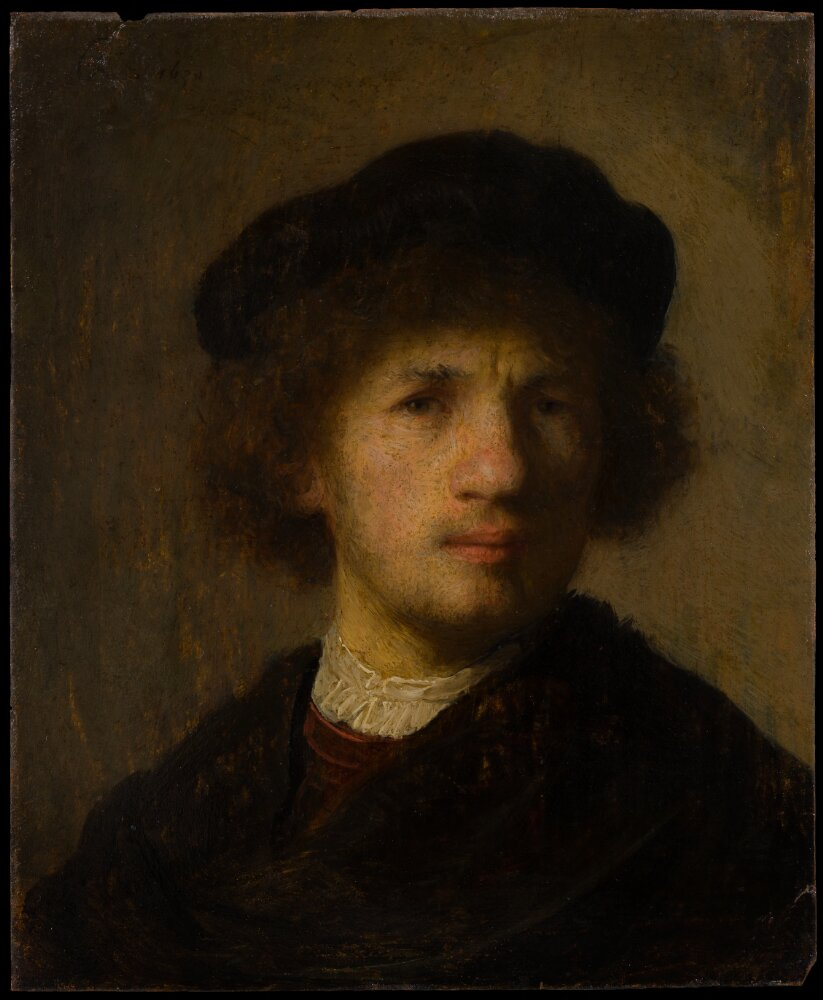 Rembrandt van Rijn (1606-1669), Self-Portrait, 1630, oil on copper, 15.5 x 12 cm Nationalmuseum, Stockholm