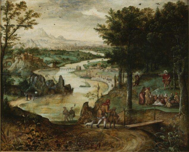 Fig. 5. Attributed to Lucas Gassel (ca. 1488-1568/69), <em>Landscape with Saint John the Baptist Preaching</em>, ca. 1545-1560 Jean van Caloen Foundation, Loppem Castle, Loppem (Belgium)
