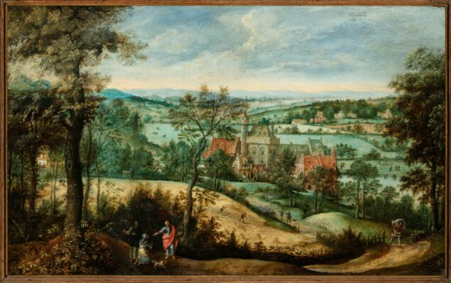 Fig. 3. Lucas Gassel (ca. 1488-1568/69), <em>Landscape with Christ and the Woman of Canaan</em>,1550 Narodní Galerie, Prague (on loan from the collection of ing. Václav Butta)