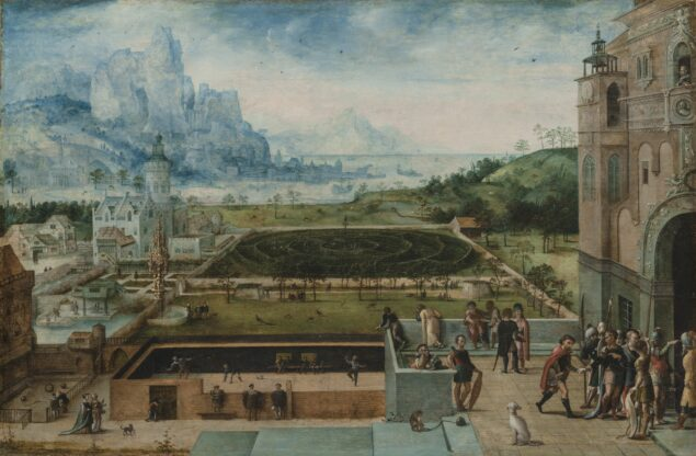 Fig. 4. Attributed to Lucas Gassel (ca. 1488-1568/69), <em>Courtly Grounds with Scenes from the Story of David and Bathsheba</em>, ca. 1540-1550 Wadsworth Atheneum Museum of Art, Hartford, CT