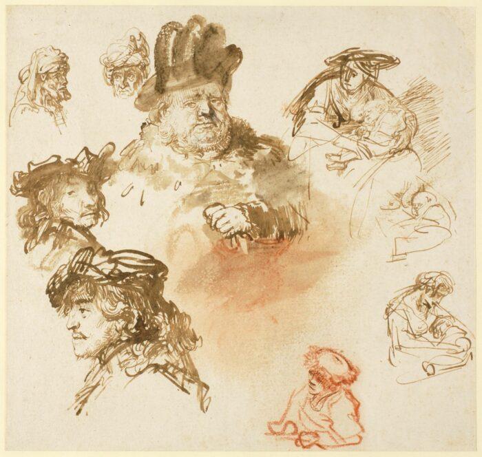 Rembrandt van Rijn (1606-1669), <em>A sheet of studies</em>, mid 1630s<br>© The Henry Barber Trust, The Barber Institute of Fine Arts, University of Birmingham