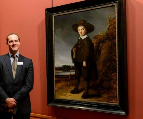 Robert Wenley next to Govert Flinck's <em>Portrait of a Boy</em> of 1640