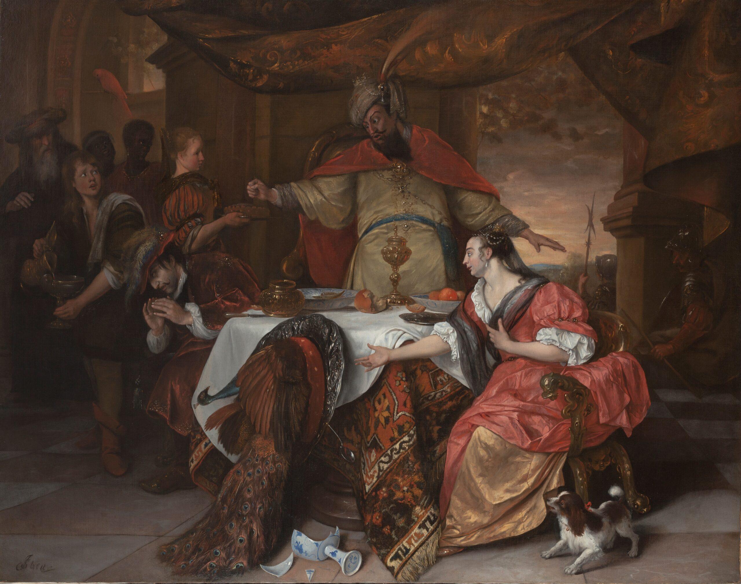 Jan Steen (1625/6-1679), <em>The Wrath of Ahasuerus</em>, ca. 1671-1673<br>© The Henry Barber Trust, The Barber Institute of Fine Arts, University of Birmingham