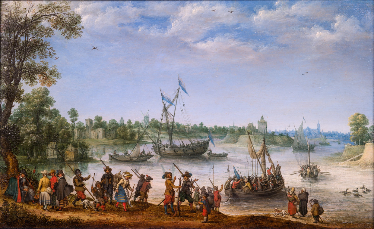 Adam Willaerts (1577-1664), <em>The Departure of the Pilgrims from Delftshaven</em>, 1620<br>Promised gift of Rose-Marie and Eijk van Otterloo, in support of the Center for Netherlandish Art