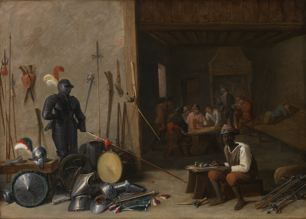 Abraham Teniers (1629–1670). Guardroom Scene with African Soldier Cleaning Pistols, ca.1650–65Chrysler Museum of Art, Norfolk, VA
