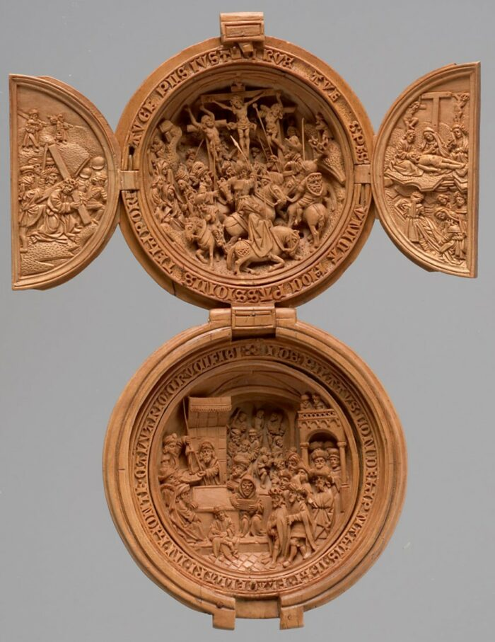 Adam Dircksz and workshop (active in Delft c. 1500-1535), <em>Prayer Nut with Crucifixion and Christ before Pilate</em>, early 16th century<br>Kunsthistorisches Museum, Vienna