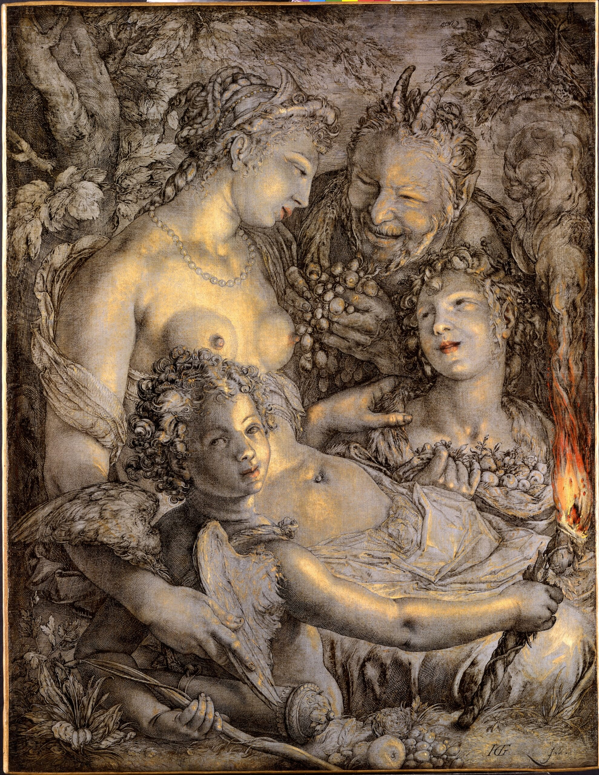 Hendrick Goltzius (1558 – 1617), Sine Cerere et Libero friget Venus (Without Ceres and Bacchus Venus Would Freeze), ca. 1600–1603Philadelphia Museum of Art, Philadelphia (purchased with the Mr. and Mrs. Walter H. Annenberg Fund for Major Acquisitions, the Henry P. McIlhenny Fund in memory of Frances P. McIlhenny, bequest [by exchange] of Mr. and Mrs. Herbert C. Morris, and gift [by exchange] of Frank and Alice Osborn, 1990)