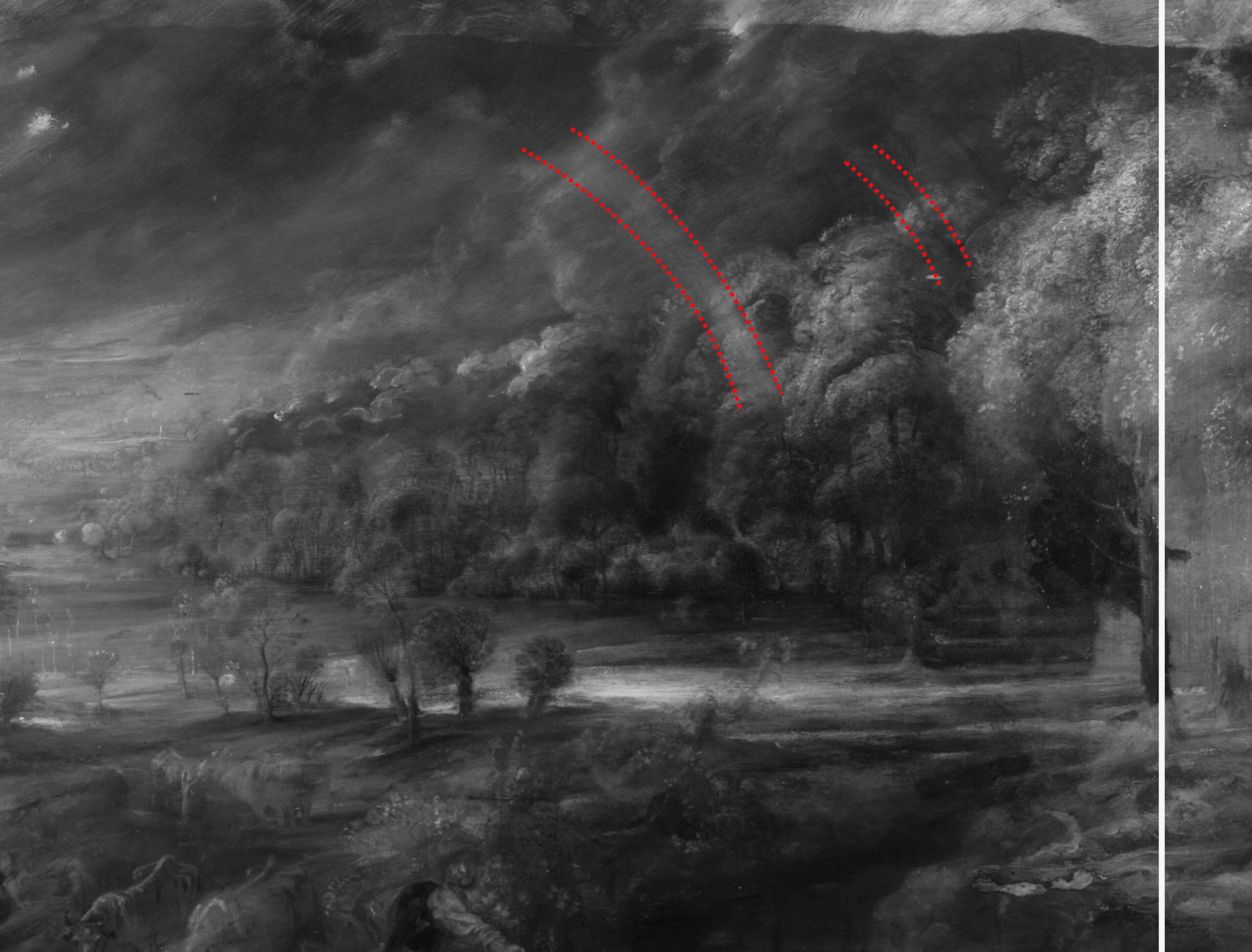 5. IRR of The Rainbow Landscape, detail of the original rainbow© The Wallace Collection, London. Infrared reflectography by Tager Stonor Richardson; schematic overlay by Bobak Conservation