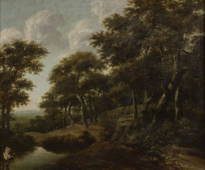 Fig. 2. Adriaen Hendricksz. Verboom (1627/1628–1673), Forest Interior with a Pond and Two Figures, ca. 1650–1660, inv. MJA 289