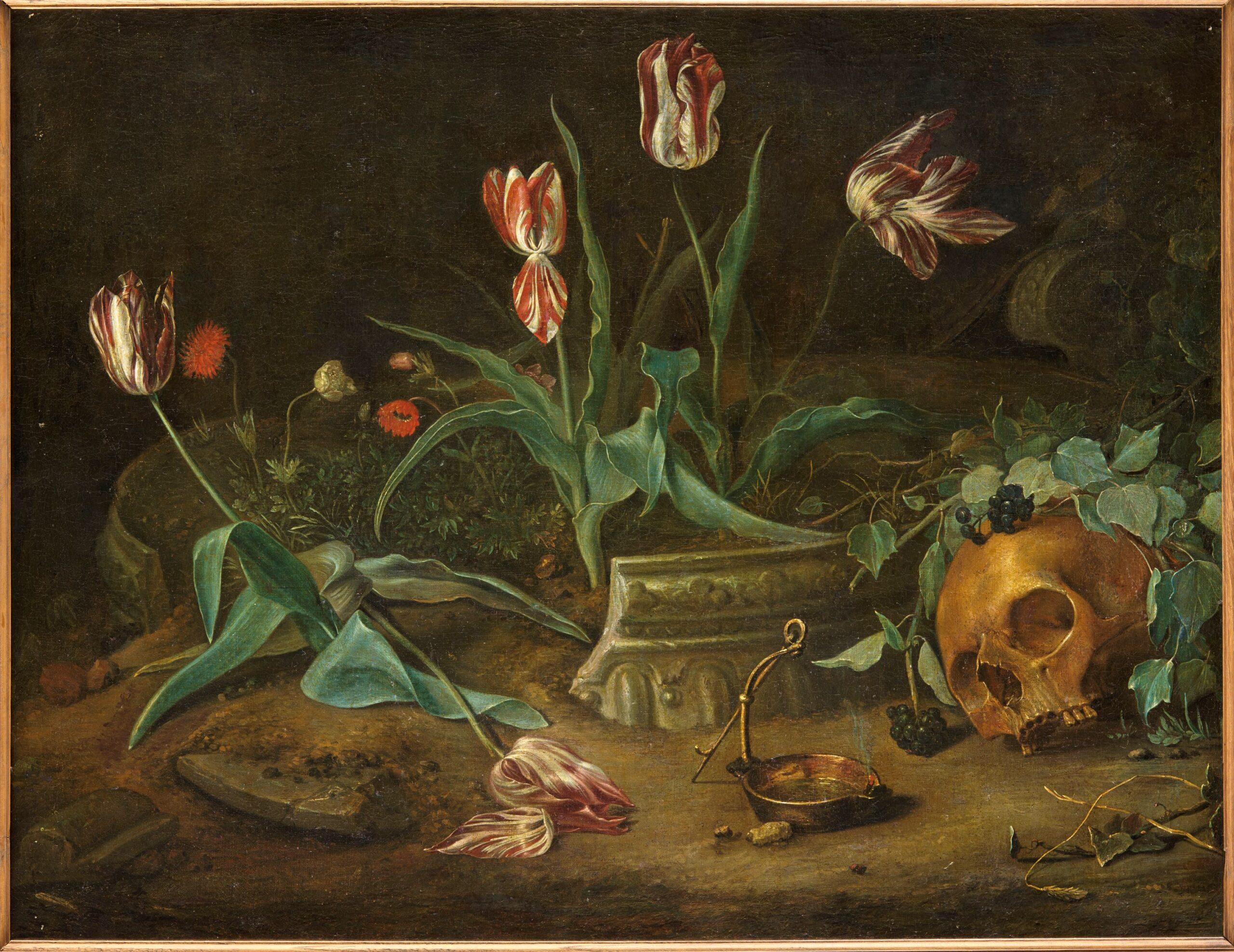 Fig. 6. Coenraet Roepel (1678–1748), Vanitas with Skull and Oil Lamp, ca. 1715, inv. MJA 323