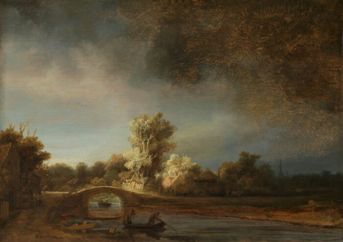 Rembrandt van Rijn (1606-1669), Landscape with a Stone Bridge, ca. 1638. Oil on panel, 29.5 × 42.5 cm, Rijksmuseum, Amsterdam (Purchased with the support of the Rembrandt Association and A. Bredius, Amsterdam)
